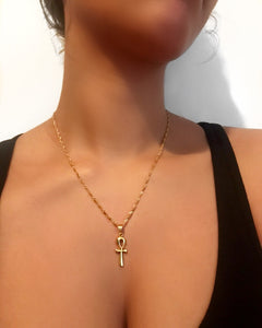 Golden Ankh Necklace {view}