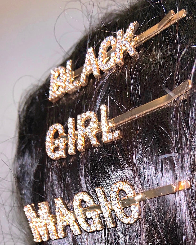 Black Girl Magic Glam Clips ~ NEW FONT STYLE GOLD 3pc set {view}