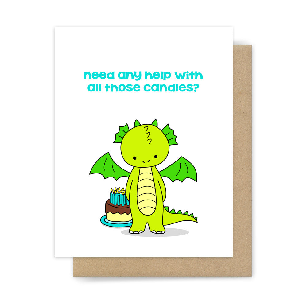 Funny dragon happy birthday card youre getting old pun handmade need any help with all those candles funny youre old birthday card by sunny bookmarktalkfo Image collections