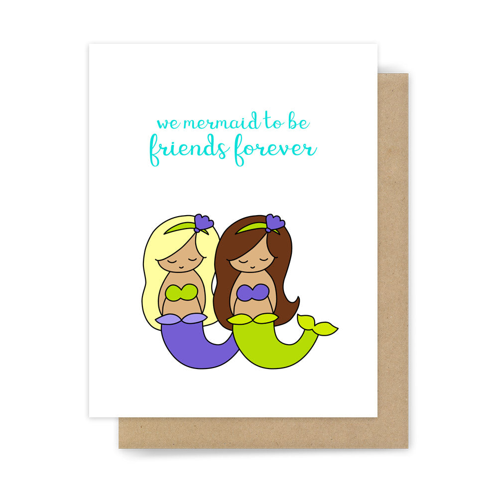 Friend and just because cards cute and punny handmade greeting cards we mermaid to be friends forever cute funny greeting card for bff by sunny dove studio kristyandbryce Image collections