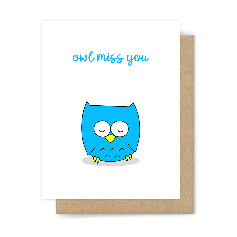 Funny goodbye card owl miss you pun handmade farewell greeting cards owl miss you kristyandbryce Image collections