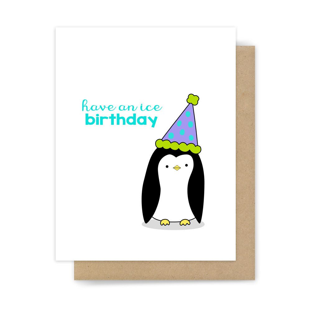 Funny penguin happy birthday pun card cute handmade greeting cards have an ice birthday funny penguin pun greeting card by sunny dove studio bookmarktalkfo Image collections