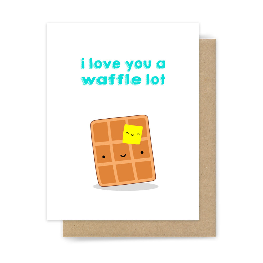 I Love You A Waffle Lot Card Funny Handmade Greeting For Wife