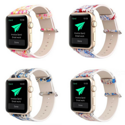 Leather Graffiti Prints Apple Watch 38mm / 42mm