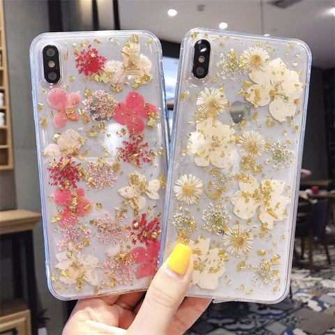 Real Pressed Dried Flowers Phone Case For iPhone