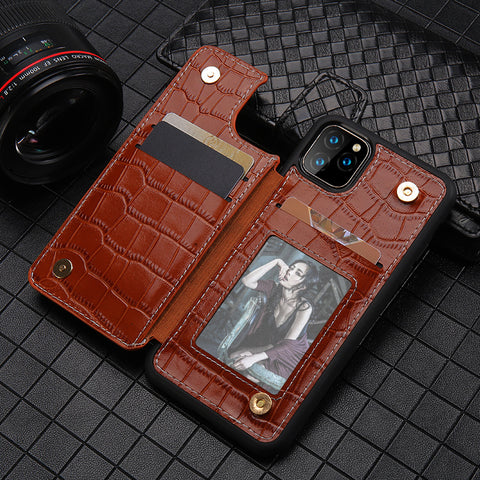 Genuine Leather Phone Wallet Case For Apple iPhone