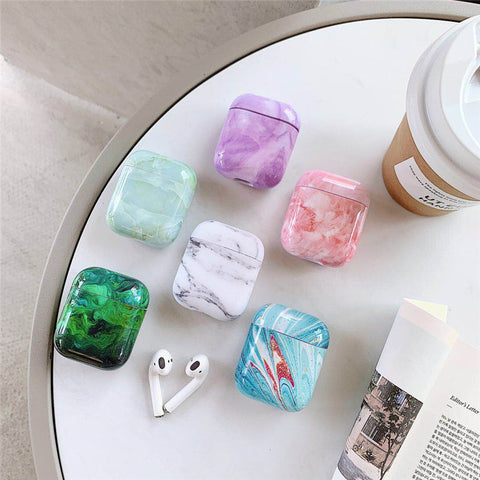 Marble Earphone Case For Airpods 2 Case Luxury Hard Headphone Case