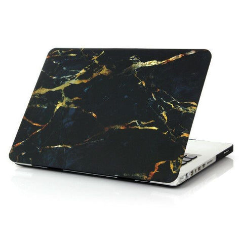 Premium Marble Black & Gold Case For Macbook + Keyboard Cover