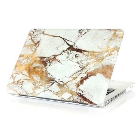Premium Marble White & Gold Case For Macbook + Keyboard Cover
