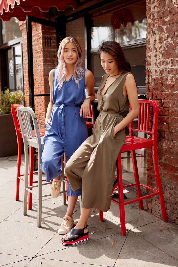 Buy Olive Green Soft Satiny Fabric Midi Jumpsuit | Trendy Rompers
