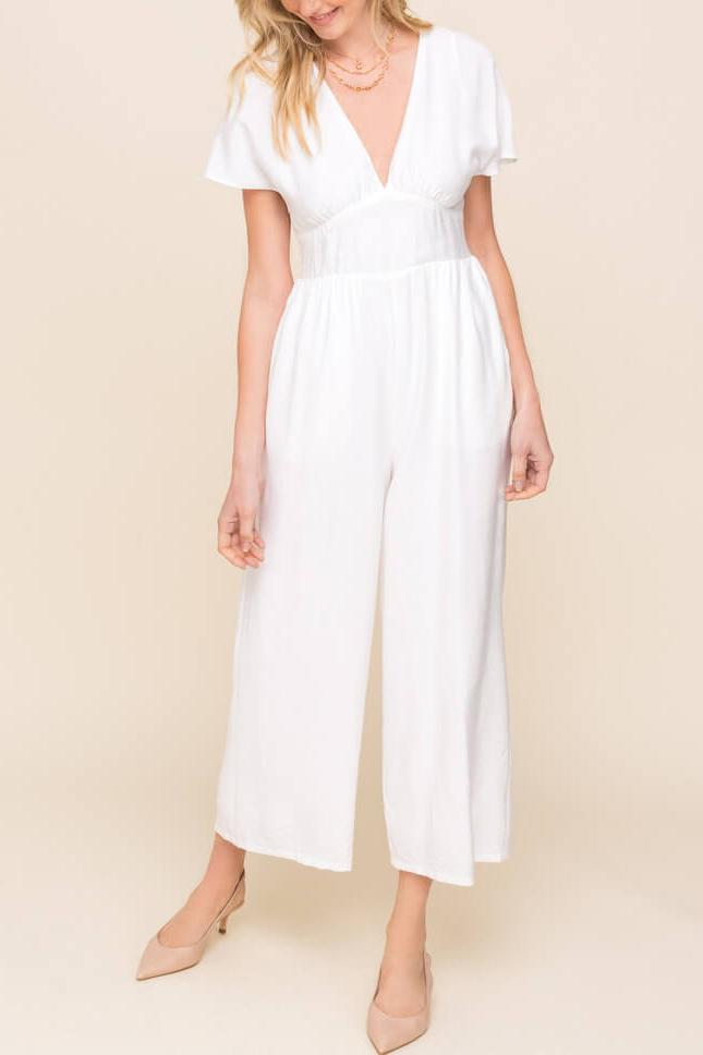 Keep Me Accountable White Dolman Sleeve Jumpsuit