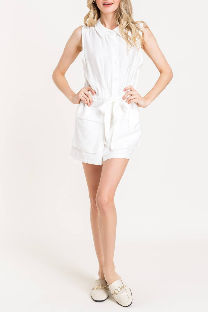 Work From Home White Utility Button-Up Romper