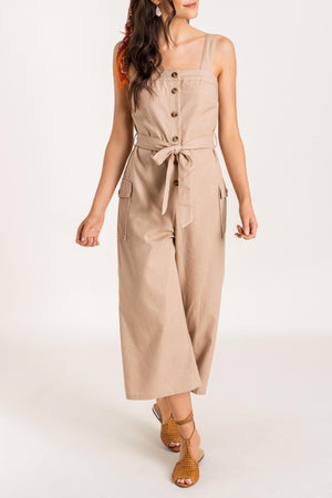 Side Hustle Taupe Linen Utility Jumpsuit