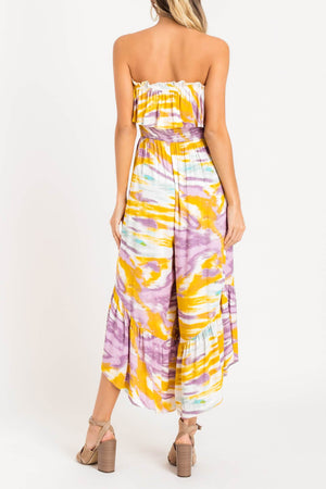 Staycation Purple and Yellow Tie Dye Tube Top Jumpsuit