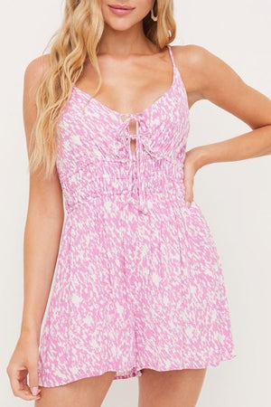 Self-Care Pink Printed Romper