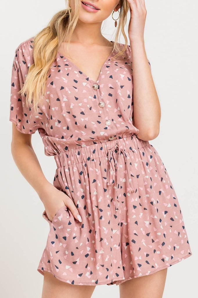 Stronger Together Mauve Printed Button Romper