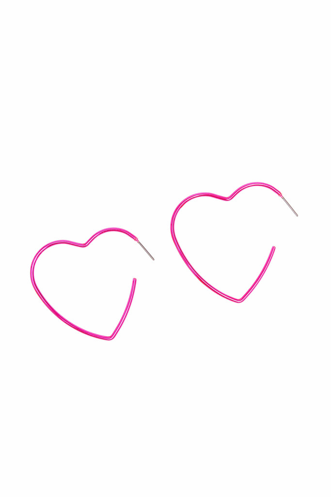 Buttercup Neon Pink Heart Earrings