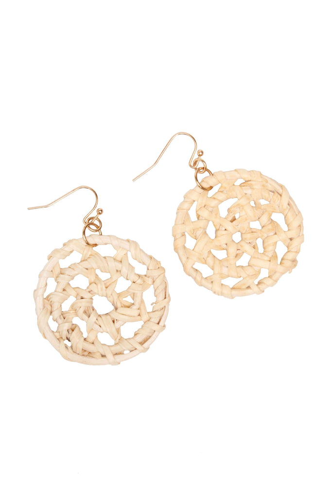 Camelia Natural Woven Circle Drop Earrings