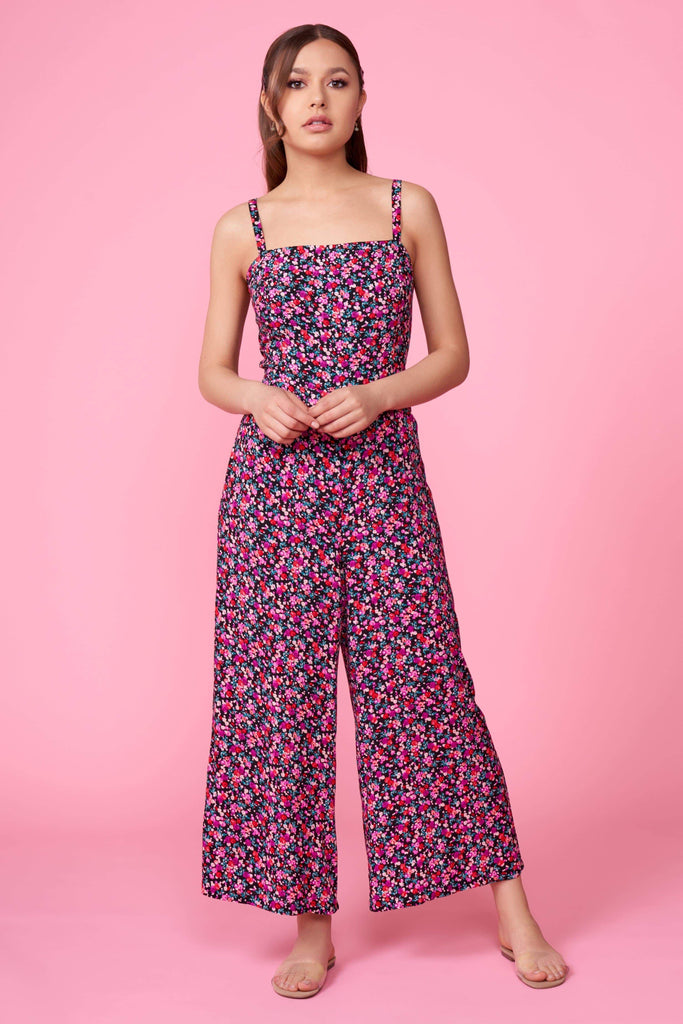 Penny Pink Floral Print Back Tie Jumpsuit by Lush