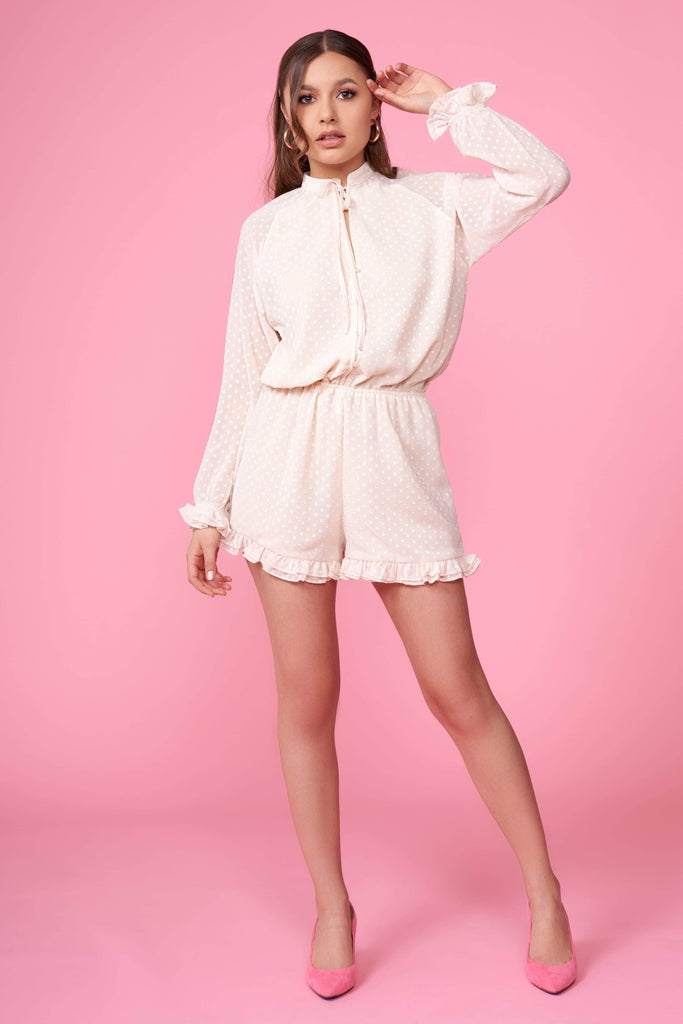 Pom Pom Cream Long Sleeve Romper