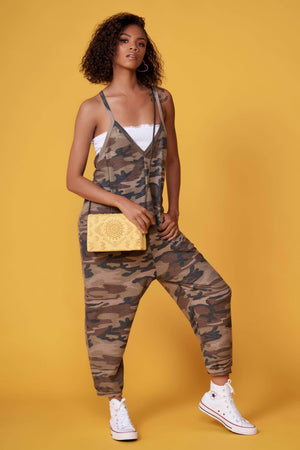 Coppy Green Camo Print Jumpsuit