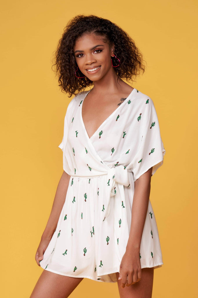 Anthenas White Cactus Romper by Lush