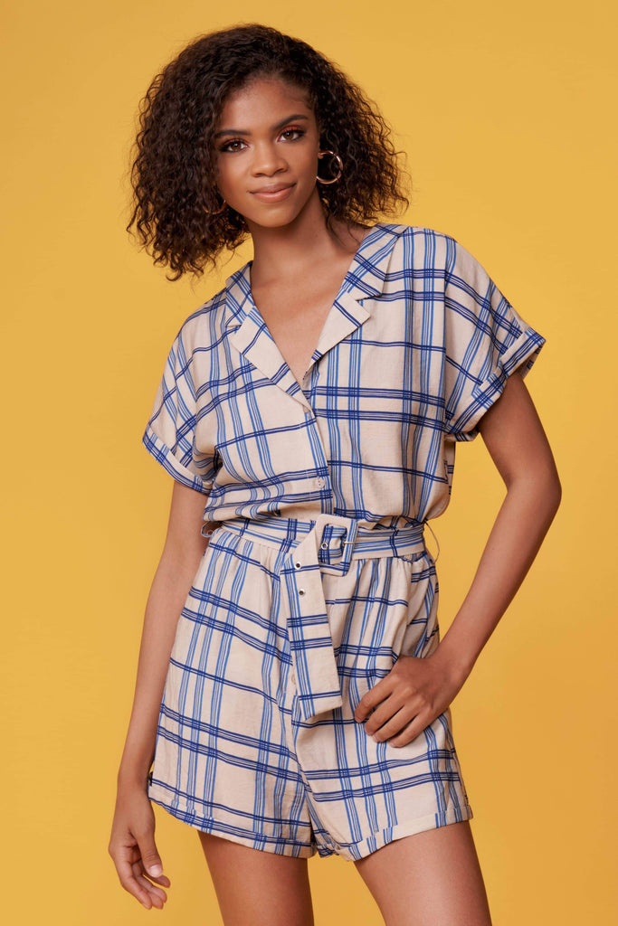 Bobby Blue Plaid Belted Romper