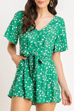 Nowhere To Go Green Linen Printed Button Romper