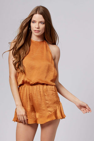 Ashley Copper Halter Romper-Rompers