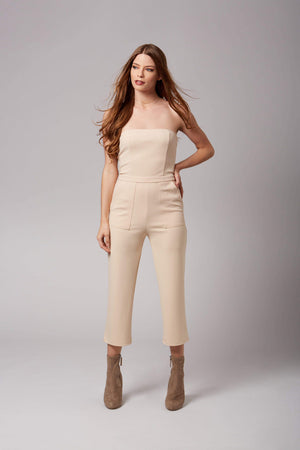 Audrey Taupe Strapless Jumpsuit-Rompers