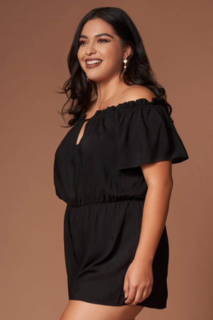 Barbara Black Off-the-Shoulder Romper-Rompers