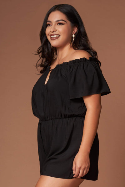 Barbara Black Off-the-Shoulder Romper