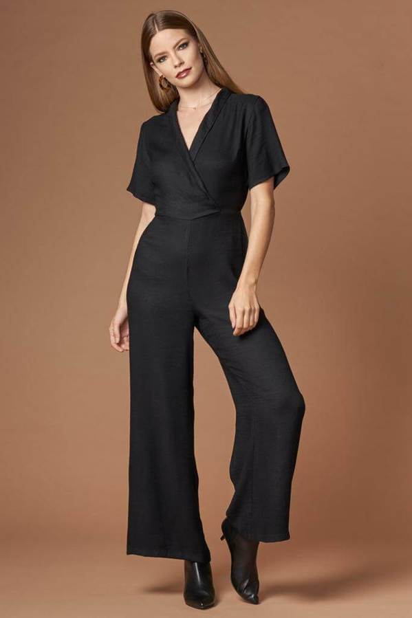 Stellar Black Short Sleeve Jacquard Jumpsuit by Lush