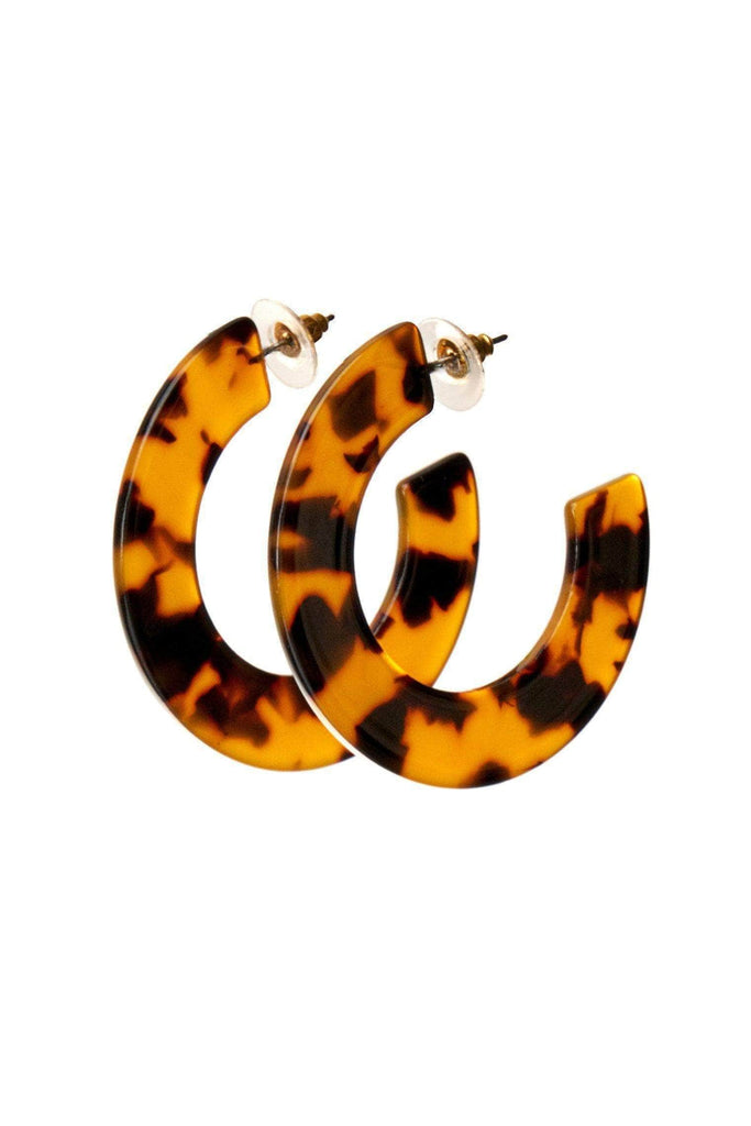 Chrissy Tortoise Acetate Hoop Earrings-Accessories