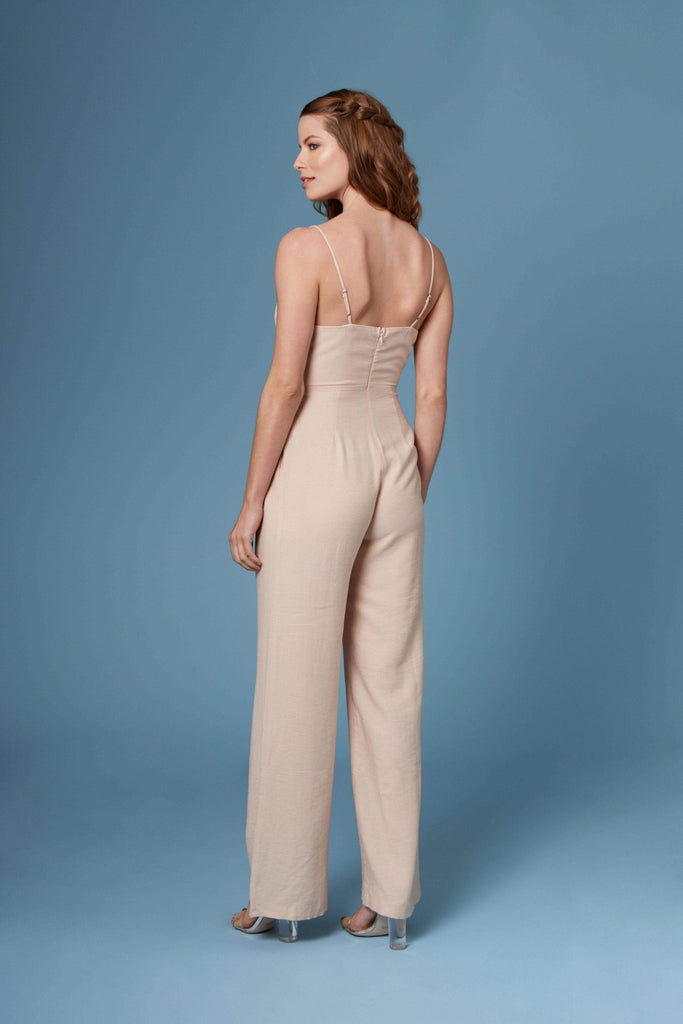 Danny Beige Lace-Up Wide-Legged Jumpsuit by Lush-Rompers