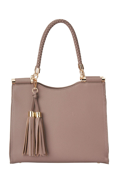Downtown Taupe Leather Satchel Bag
