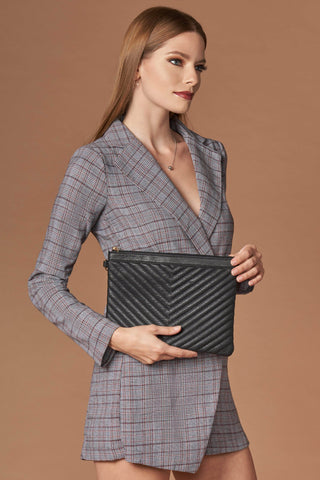 Essential Black Chevron Clutch-Accessories