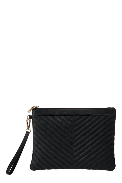 Essential Black Chevron Clutch