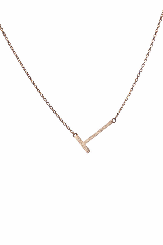 Gold Sideways Initial Pendant Necklace-Accessories