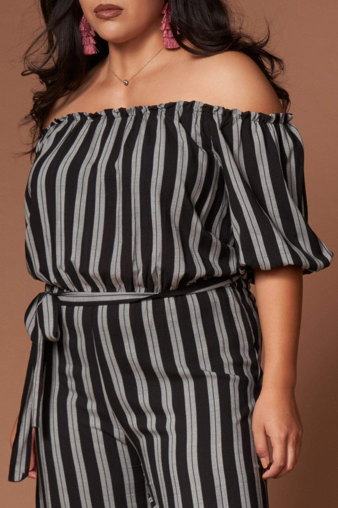 Grace Black and White Striped Jumpsuit-Rompers