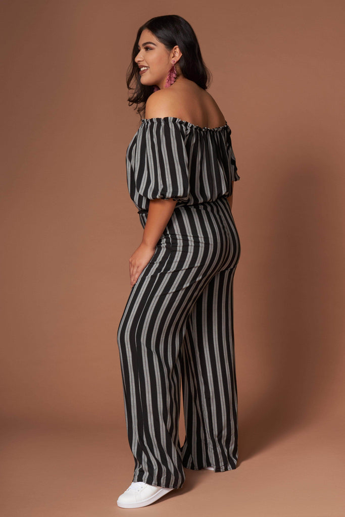Grace Black and White Striped Jumpsuit