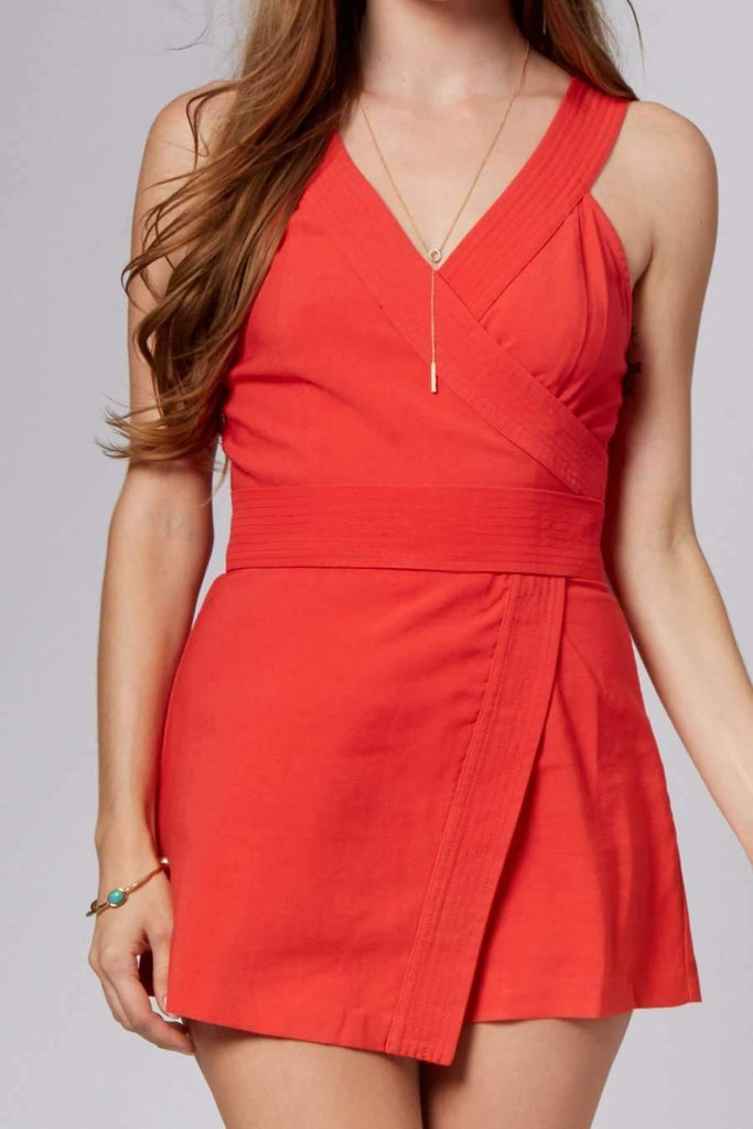 Harper Red Wrap Romper-Rompers