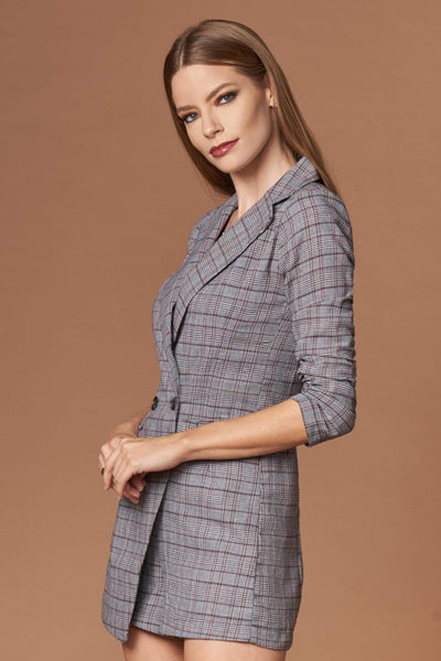 Icon Grey Plaid Blazer Romper