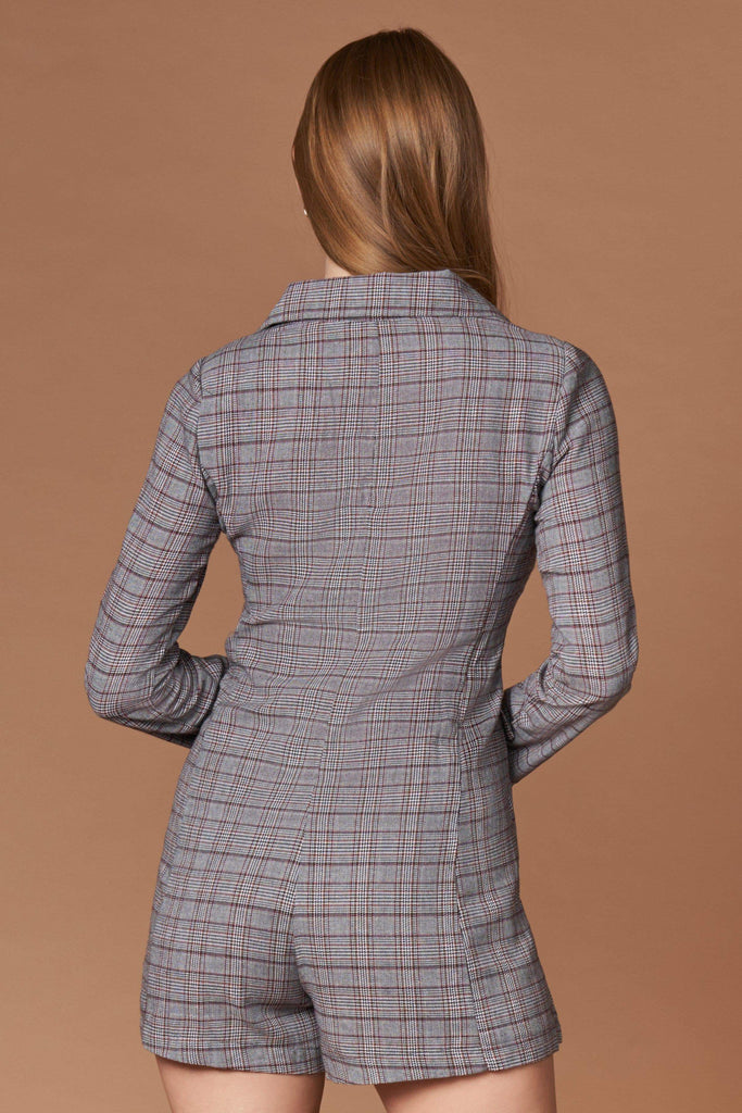 Icon Grey Plaid Blazer Romper-Rompers