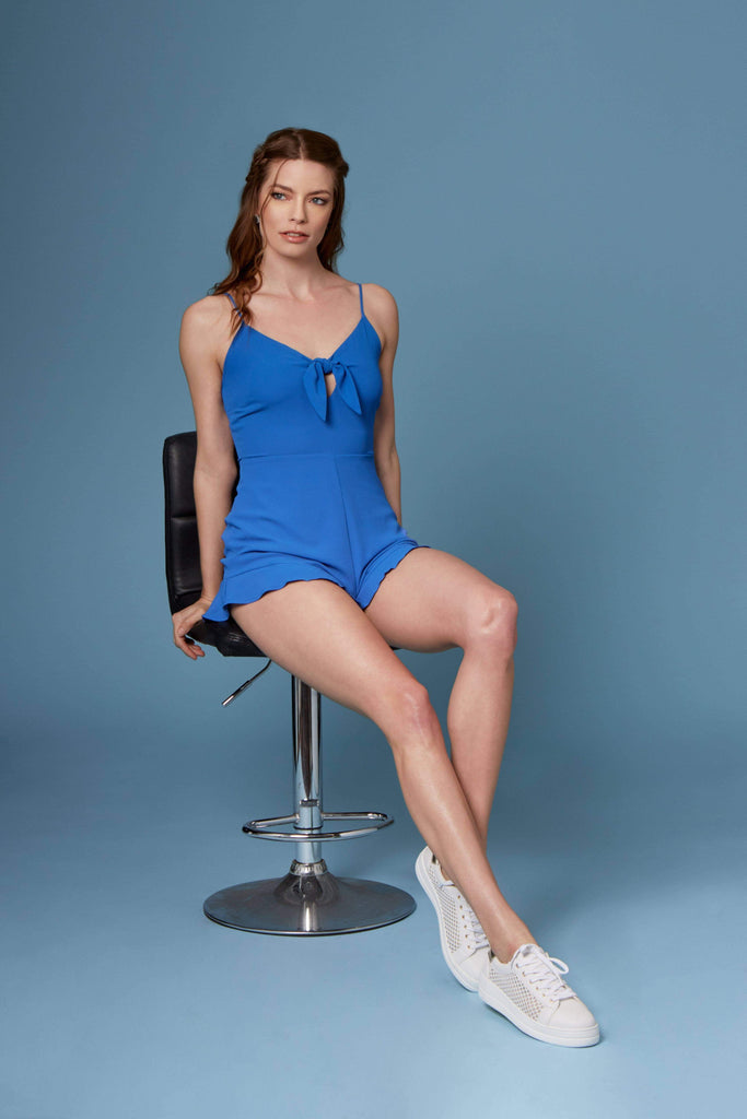Joey Cobalt Blue Tie-Front Romper by Lush-Rompers