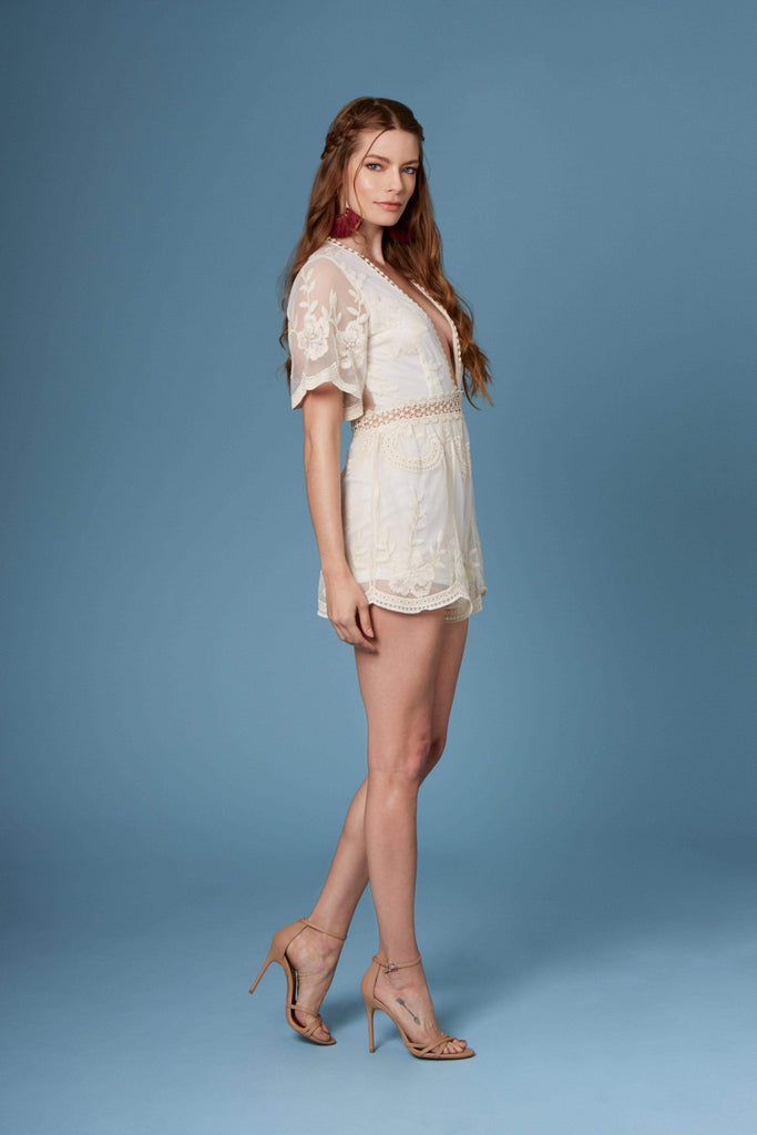 Juan Pablo Ivory Lace Romper-Rompers