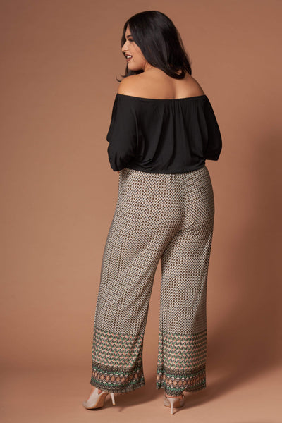 Kellie Black and Brown Print Off-the-Shoulder Jumpsuit