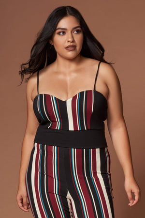 Lara Burgundy Multi Stripe Sleeveless Jumpsuit-Rompers