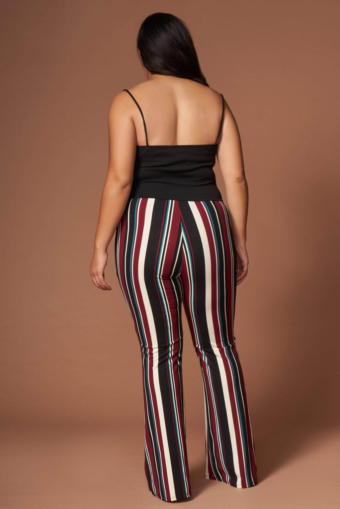 Lara Burgundy Multi Stripe Sleeveless Jumpsuit