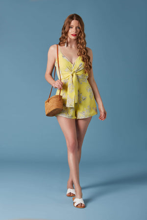 Lemonade Yellow Floral Print Romper by Lush-Rompers